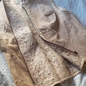 100% Leather Chic lace Boho  Coldwater Creek Vest